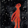 A. R. Penck (Ralf Winkler) (b. 1939)<br /> I and the Cosmos (Figure with Starry Sky), 1968 <br /> <br /> Penck was born in what became the German Democratic Republic, and remained behind the Iron Curtain until 1980. In order to elude the authorities and exhibit internationally, the largely self-taught artist—who was born Ralf Winkler—took on various aliases, the first and most lasting being A. R. Penck. In this striking sheet, a dramatically simplified solitary figure, identified in the title as the artist himself, faces a starry sky. The combination of red and black holds political connotations for its associations with anarchism and socialism.