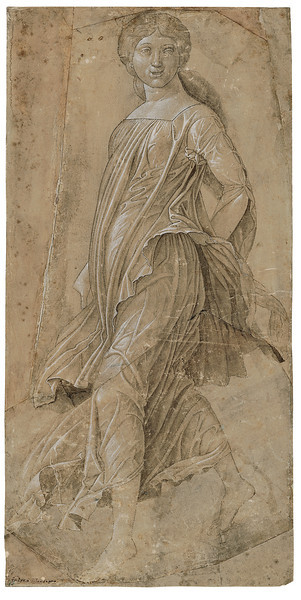 Andrea Mantegna (1431–1506)<br /> Dancing Muse, ca. 1495<br /> <br /> Recognized in his lifetime as the leading painter in Italy, Mantegna spent the latter part of his career working for the Gonzaga court in Mantua. This is likely the final study for one of the main figures in Mantegna's Parnassus in the ducal palace of Mantua. It is especially notable for the artist's masterful handling of the folds in the muse's clothing. The figure's face and hairstyle—both rendered in a sculptural style typical of the artist—appear in slightly different form in the finished painting.