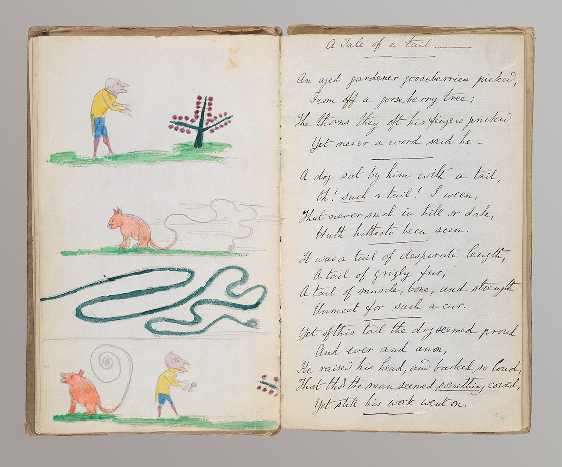 Carroll, Lewis, 1832-1898.   Useful and instructive poetry : autograph magazine : [Croft] 1845. opening 1, left side, Illustration, (Non-Morgan NYU Fales Library)  MSS 057 Box 6 folder 506.1