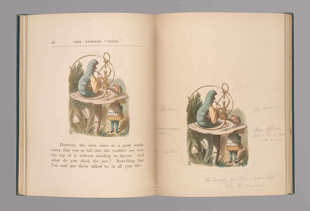 "Carroll, Lewis, 1832-1898.   The nursery ""Alice"" (Private Collection, extra-illustrated) : containing twenty coloured enlargements from Tenniel's illustrations to ""Alice's adventures in Wonderland"" /  London : Macmillan and Co., 1889, proof 3, Caterpillar"
