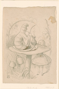 Tenniel, John, 1820-1914, Alice and the Caterpillar Smoking His Pipe [drawing], [186-], 1982.11:3
