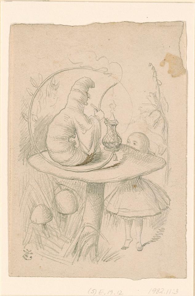 Tenniel, John, 1820-1914, Alice and the Caterpillar Smoking His Pipe [drawing], [186-], 1982.11:3
