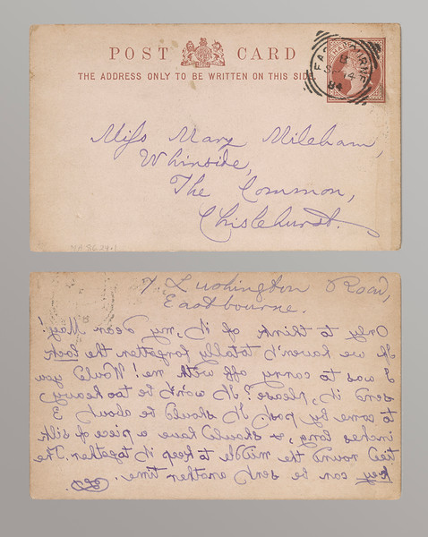 Dodgson, Charles Lutwidge, 1832-1898.   Autograph postal card signed : Eastbourne, to Mary Mileham, [1884 Sept. 14].  MA 8624.1 recto