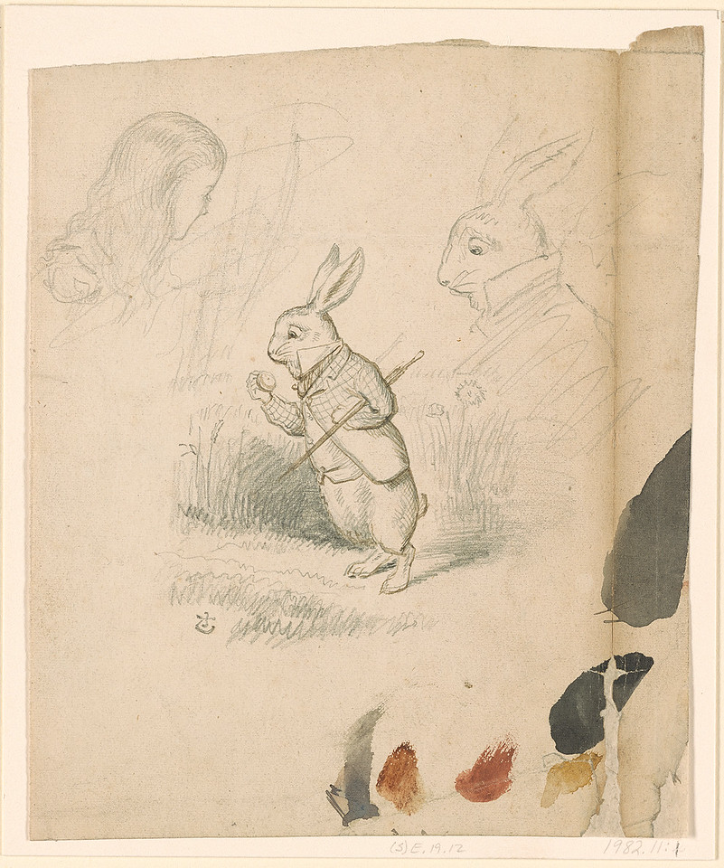 Tenniel, John, 1820-1914, The White Rabbit Looking at his Watch; Studies of the Head of the White Rabbit and of Alice [drawing], .1860s, 1982.11:1