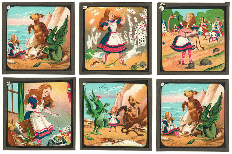 Group of all six slides,  From  Lantern slides of scenes from Alice's adventures in Wonderland  [London : W. Butcher & Sons, 1900-1915?], PML 352354.1-7
