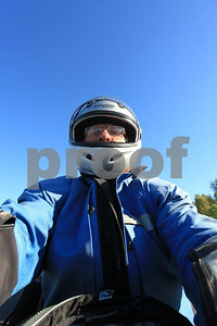 A self portrait taken from the tank bag on a BMW motorcycle.