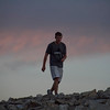 Cam coming down Mt Democrat after summiting to join me and accompany me to the summit. The sun was not up yet.