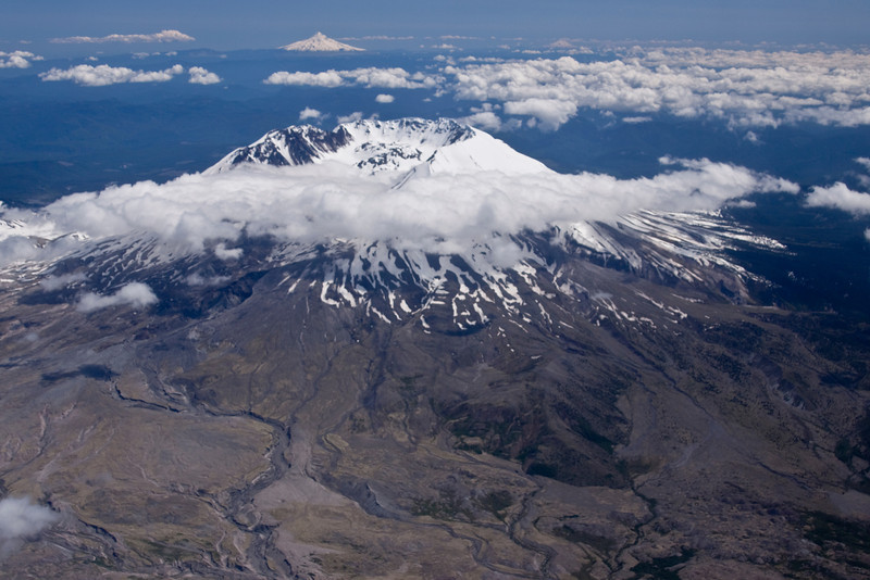 Mt. St. Helens with a view of Mt Hood