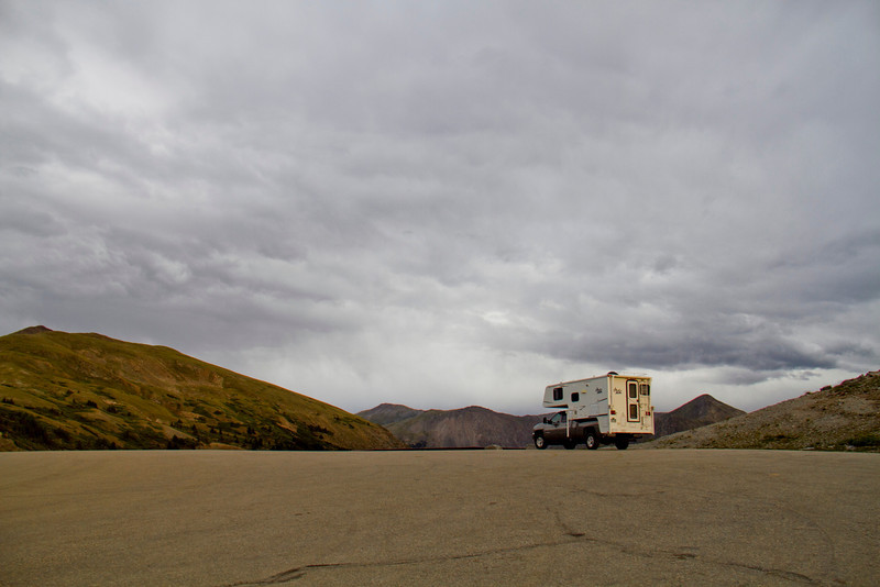 Our truck and camper on top of cottonwood pass.
