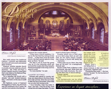 Draeger Photography has been featured in many eastern Iowa newspapers. The publications include the West Branch Times, the Marion Times, the Mount Vernon-Lisbon Sun, the West Liberty Index, the Tipton Conservative, the Sun-News (Clarence, Lowden, Stanwood), the North Liberty Leader and Solon Economist. We are honored to have one of our photo's on the first page of the bridal insert.