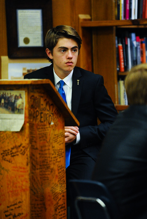 . Redlands High School mock trial member Tyler Vallecorsa acts as the bailiff during a scrimmage mock trial against Arrowhead Christian Academy at Redlands High School in Redlands, Calif. on Tuesday, March 7, 2017. Redland High School\'s mock trial team will head to the state championship. (Photo by Rachel Luna, Redlands Daily Facts/SCNG)