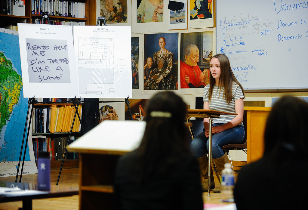 . Arrowhead Christian Academy\'s Alexandra Fuson acts a witness during a scrimmage mock trial against Redlands High School\'s mock trial team at Redlands High School in Redlands, Calif. on Tuesday, March 7, 2017. Redland High School\'s mock trial team will head to the state championship. (Photo by Rachel Luna, Redlands Daily Facts/SCNG)