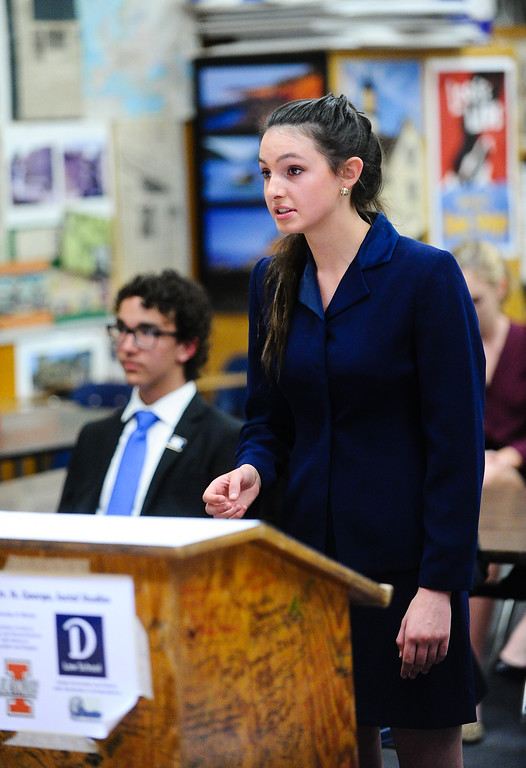 . Redlands High School mock trial member Courtney Cappelli, 17, gives her opening statement during a scrimmage mock trial against Arrowhead Christian Academy at Redlands High School in Redlands, Calif. on Tuesday, March 7, 2017. Redland High School\'s mock trial team will head to the state championship. (Photo by Rachel Luna, Redlands Daily Facts/SCNG)