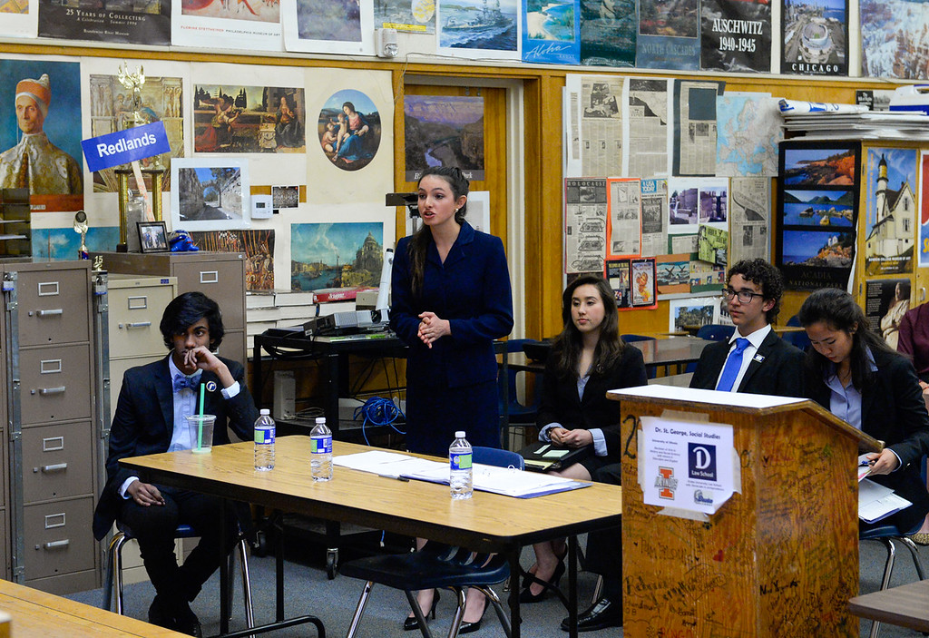 . Redlands High School\'s mock trial team competes in a scrimmage mock trial against Arrowhead Christian Academy at Redlands High School in Redlands, Calif. on Tuesday, March 7, 2017. Redland High School\'s mock trial team will head to the state championship. (Photo by Rachel Luna, Redlands Daily Facts/SCNG)