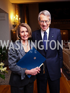 "Nancy Pelosi, Italian Amb. Giulio Maria Terzi di Sant'Agata. National Gallery ""Canaletto"" Dinner. Photo by Tony Powell. Villa Firenze. February 15. 2011"