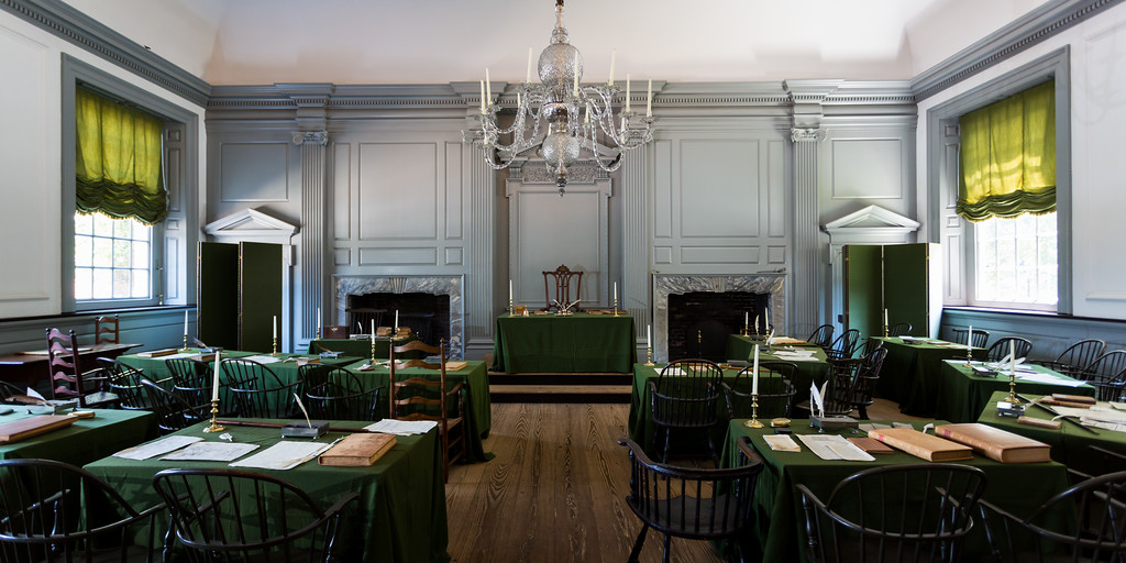 In this room the delegates of the Continental Congress nominated George Washington as commander-in-chief of the Continental Army (June 14, 1775). A year later, the Declaration of Independence was approved in this same room (July 4, 1776). The Continental Congress continued meeting in this room until December 12, 1776. Philadelphia, PA<br /> <br /> PA-120705-0033