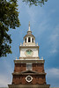 Bell tower of the Philadelphia Court House, better known as Independence Hall. The Liberty Bell hung on this tower until 1852 (briefly taken down in 1777). The tower currently hold a Centennial Bell that was created for the U.S. Centennial Exposition in 1876. Philadelphia, PA<br /> <br /> PA-120705-0006
