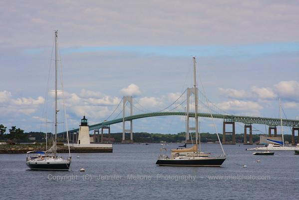 Goat Island Light and Newport Bridge