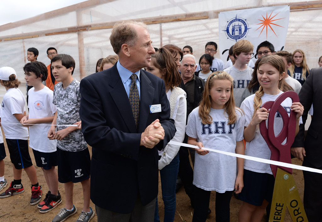 . Head of School Peter McCormack begins the ceremony  at Rolling Hills Prep School near their new greenhouse,which will enhance the school\'s horticulture program. Photo by Brad Graverson/The Daily Breeze 11/21/13
