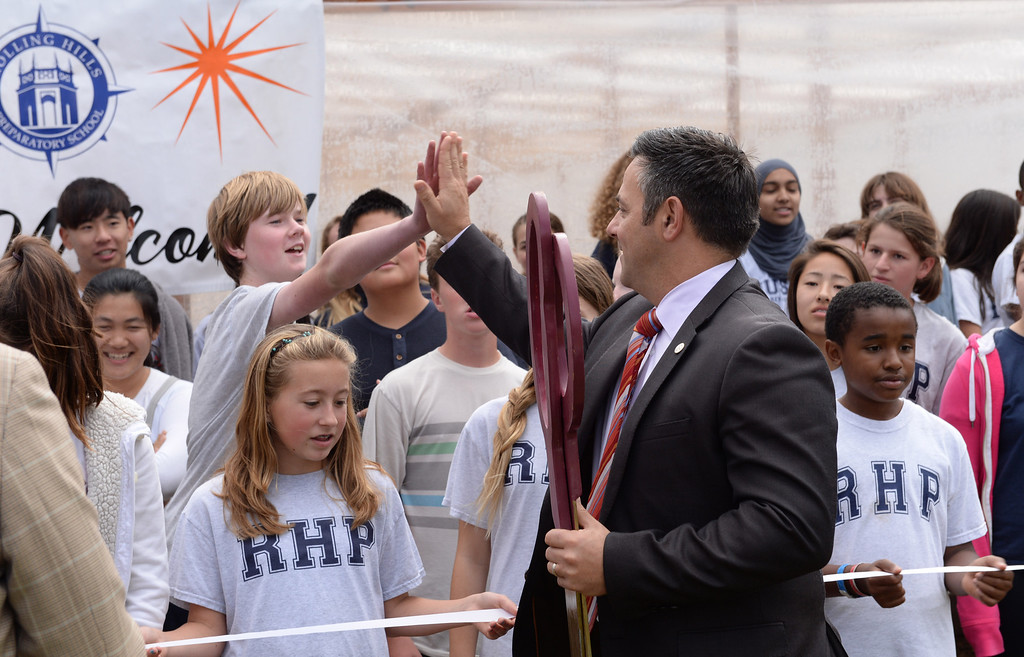. Los Angeles City Councilman Joe Buscaino greets students at Rolling Hills Prep School near their new greenhouse, which will enhance the school\'s horticulture program. Photo by Brad Graverson/The Daily Breeze 11/21/13