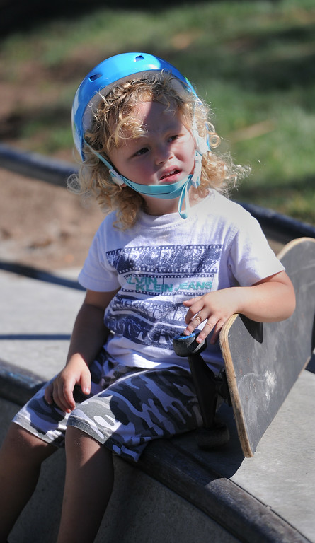 . CJ Lopez. 3, was the youngest skater at the new San Pedro skatepark located in Peck Park along Western Ave. in SP. (Aug. 15 2014 Photo by Brad Graverson/The Daily Breeze)