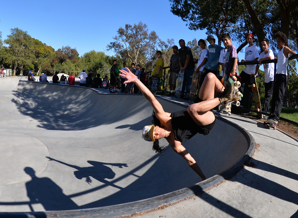 . Summer Day Sullivan went old school with a pair of roller skates at the new San Pedro skatepark located in Peck Park along Western Ave. in SP. (Aug. 15 2014 Photo by Brad Graverson/The Daily Breeze)