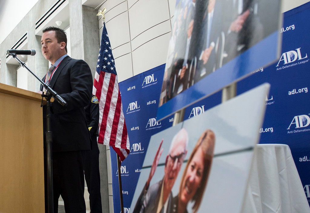 . Special Agent Nicholas Vicencia, one of the honorees, International Terrorism Investigation and Prosecution in Orange County, addresses an audience during an awards ceremony, law enforcement personnel to be honored for combating hate and bigotry, at Skirball Cultural Center in Los Angeles on Tuesday, March 14, 2017. (Photo by Ed Crisostomo, Los Angeles Daily News/SCNG)