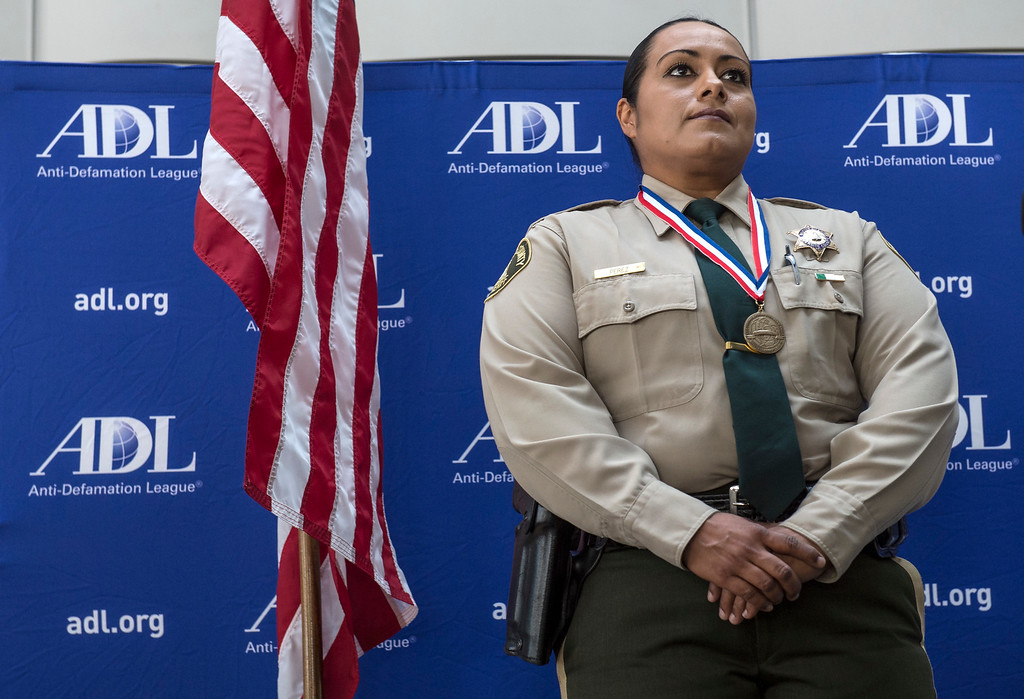 . Riverside County Deputy Sheriff Yadira Perez, individual honoree (for Coachella Valley Mosque arson), gazes outward during an awards ceremony, law enforcement personnel to be honored for combating hate and bigotry, at Skirball Cultural Center in Los Angeles on Tuesday, March 14, 2017. (Photo by Ed Crisostomo, Los Angeles Daily News/SCNG)
