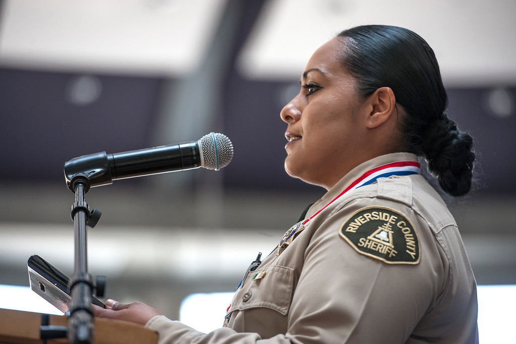 . Riverside County Deputy Sheriff Yadira Perez, individual honoree (for Coachella Valley Mosque arson), addresses an audience during an awards ceremony, law enforcement personnel to be honored for combating hate and bigotry, at Skirball Cultural Center in Los Angeles on Tuesday, March 14, 2017. (Photo by Ed Crisostomo, Los Angeles Daily News/SCNG)