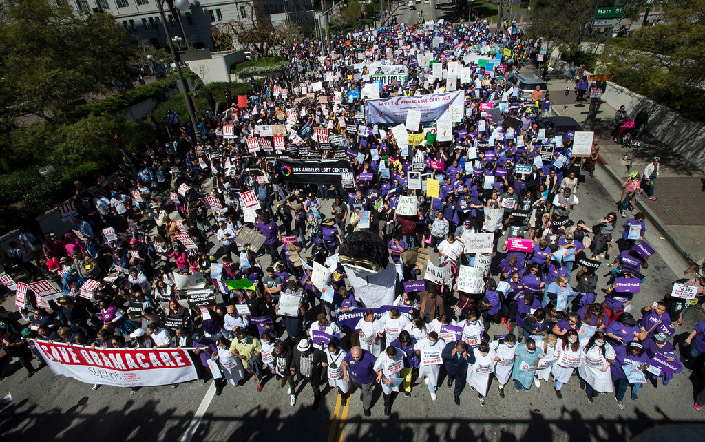 . Hundreds demonstrate and rally to save the Affordable Care Act (ACA) as they march towards The Edward R. Roybal Federal Building and United States Courthouse in downtown Los Angeles on Thursday, March 23, 2017. (Photo by Ed Crisostomo, Los Angeles Daily News/SCNG)