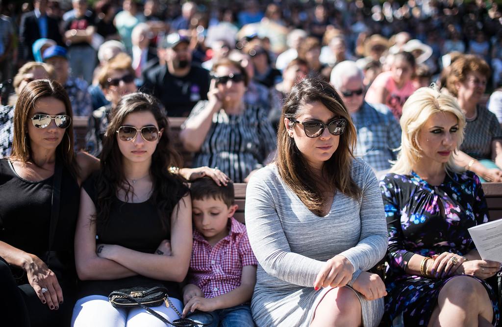 . Armenians attend the unveiling ceremony of The Pasadena Armenian Genocide Memorial at Memorial Park Saturday, April 18, 2015. (Photo by Sarah Reingewirtz/Pasadena Star-News)