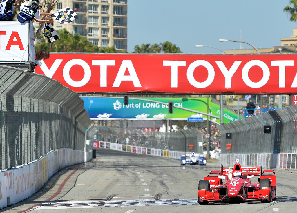 . Scott Dixon comes across the fiish line to win theToyota Grand Prix of Long Beach in Long Beach CA. Sunday April 19, 2015.  (Thomas R. Cordova-Daily Breeze/Press-Telegram)