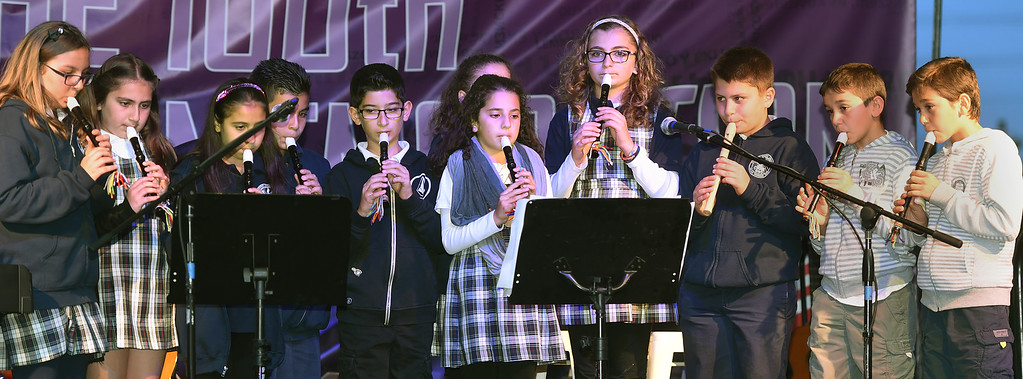 . Mesrobian Armenian  School students playing music during the National Anthems. The 100th Commemoration of the Armenian Genocide at Montebello Armenian Genocide Martyr\'s Monument Thursday, April 23, 2015. The event was sponsored buy the Armenian Revolutionary Federation, San Gabriel Valle captor of the Armenian National Committee of America--San Gabriel Valley and the Armenian Youth Federation Vahan Cardashian chapter.(Photo by Walt Mancini/Pasadena Star-News)