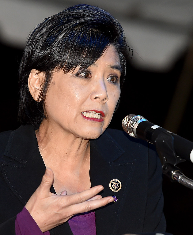 . Judy Chu, US Congresswoman 27th District speaking at the 100th Commemoration of the Armenian Genocide at Montebello Armenian Genocide Martyr\'s Monument Thursday, April 23, 2015. The event was sponsored buy the Armenian Revolutionary Federation, San Gabriel Valle captor of the Armenian National Committee of America--San Gabriel Valley and the Armenian Youth Federation Vahan Cardashian chapter.(Photo by Walt Mancini/Pasadena Star-News)