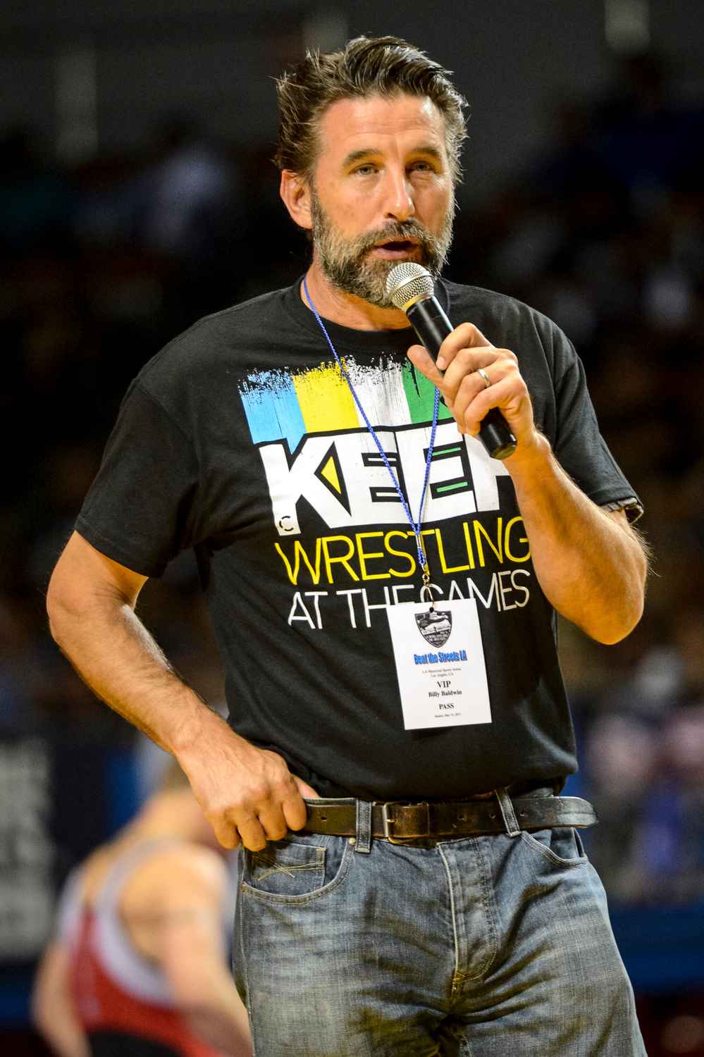 . Billy Baldwin appeals to the crowd to support Olympic wrestling during the USA vs Russia vs Canada dual meet at the Sports Arena Sunday .  Photo by David Crane/Los Angeles Daily News.