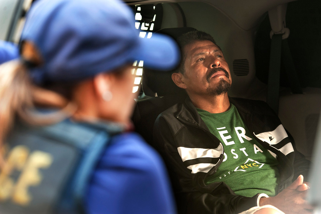 . Moran Lucero Anselmo, a criminal alien fugitive, taken into custody by ICE Fugitive Enforcement Operations Team reacts at the ICE staging facility in San Bernardino on Thursday, June 22, 2017. (Photo by Ed Crisostomo, Los Angeles Daily News/SCNG)