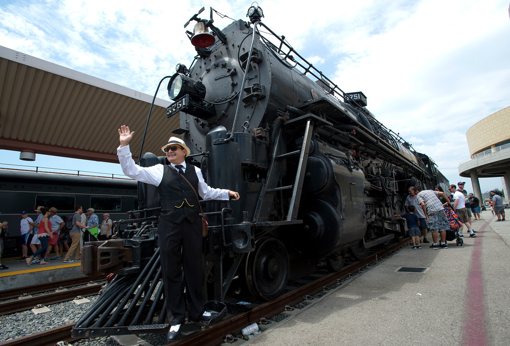. Robert Sanford, of Los Angeles, tours the Santa Fe 3751, 1927 Steam Locomotive during the Union Station Summer Train Fest at the Union Station in Los Angeles on Saturday, July 15, 2017. (Photo by Ed Crisostomo, Los Angeles Daily News/SCNG)
