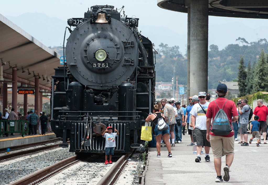 . Visitors tour the Santa Fe 3751, 1927 Steam Locomotive during the Union Station Summer Train Fest at the Union Station in Los Angeles on Saturday, July 15, 2017. (Photo by Ed Crisostomo, Los Angeles Daily News/SCNG)