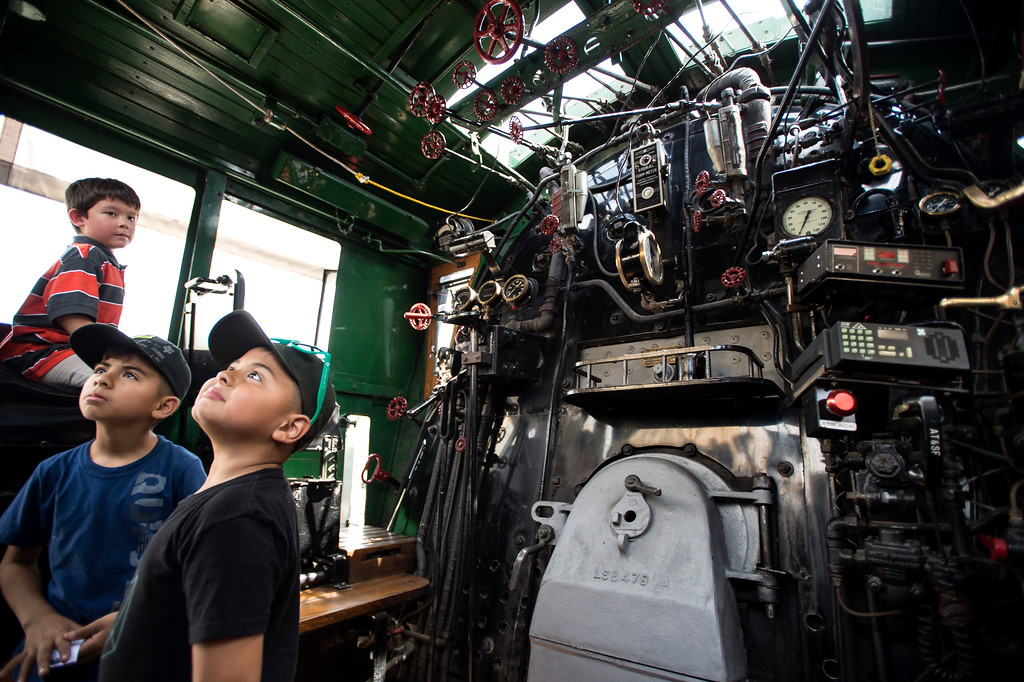 . Aidan Wilson, from left, 5, of Lakewood, Sebastian Pleitez, 8, and brother Landon Pleitez, 6, of Los Angeles, tour the Santa Fe 3751, 1927 Steam Locomotive during the Union Station Summer Train Fest at the Union Station in Los Angeles on Saturday, July 15, 2017. (Photo by Ed Crisostomo, Los Angeles Daily News/SCNG)