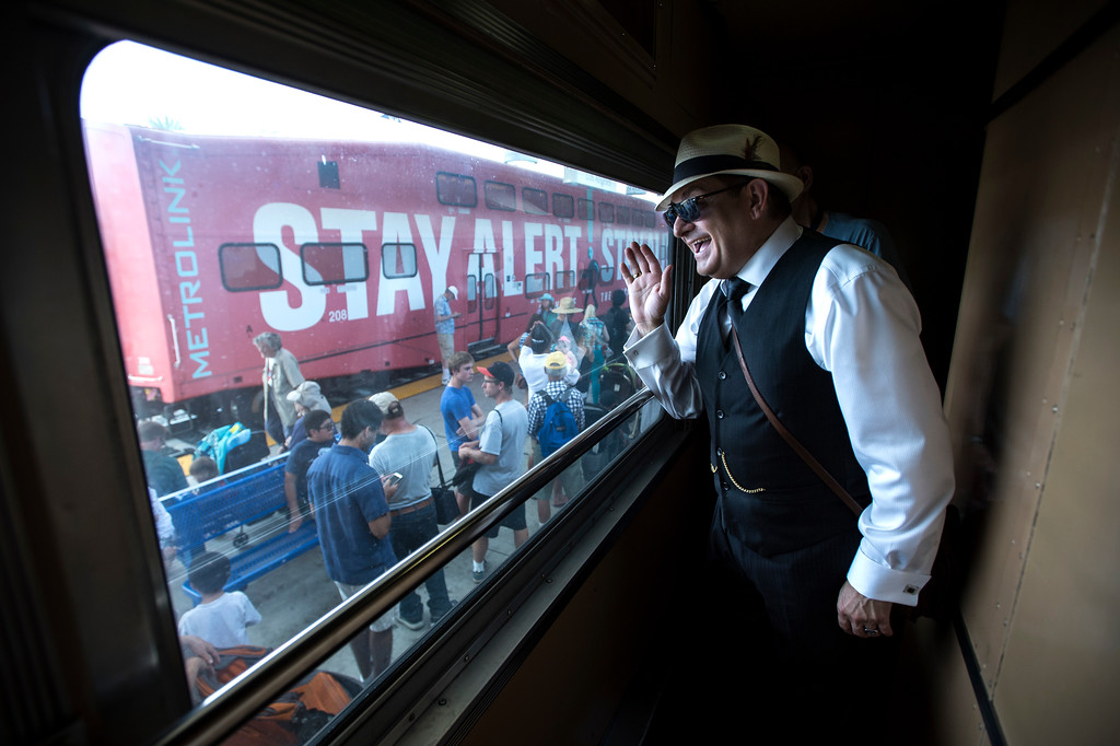 . Robert Sanford, of Los Angeles, tours the National Forum, Pullman Car, 1956 Sleeper Car during the Union Station Summer Train Fest at the Union Station in Los Angeles on Saturday, July 15, 2017. (Photo by Ed Crisostomo, Los Angeles Daily News/SCNG)