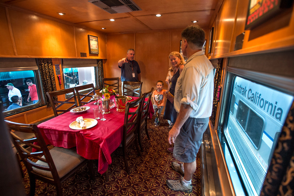 . Steve Hart, left, shows visitors one of the rooms in the Tioga Pass, 1959 Business Car w/ lounge, sleeping quarters, dining room and kitchen during the Union Station Summer Train Fest at the Union Station in Los Angeles on Saturday, July 15, 2017. (Photo by Ed Crisostomo, Los Angeles Daily News/SCNG)