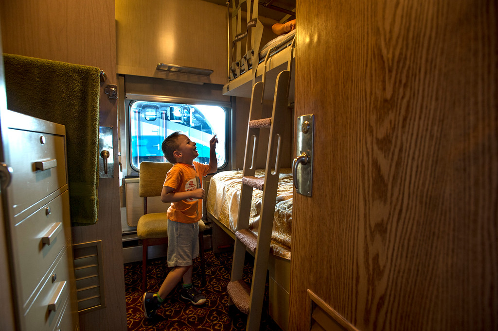 . Eric Leoning, 4, checks a room in the Tioga Pass, 1959 Business Car w/ lounge, sleeping quarters, dining room and kitchen during the Union Station Summer Train Fest at the Union Station in Los Angeles on Saturday, July 15, 2017. (Photo by Ed Crisostomo, Los Angeles Daily News/SCNG)