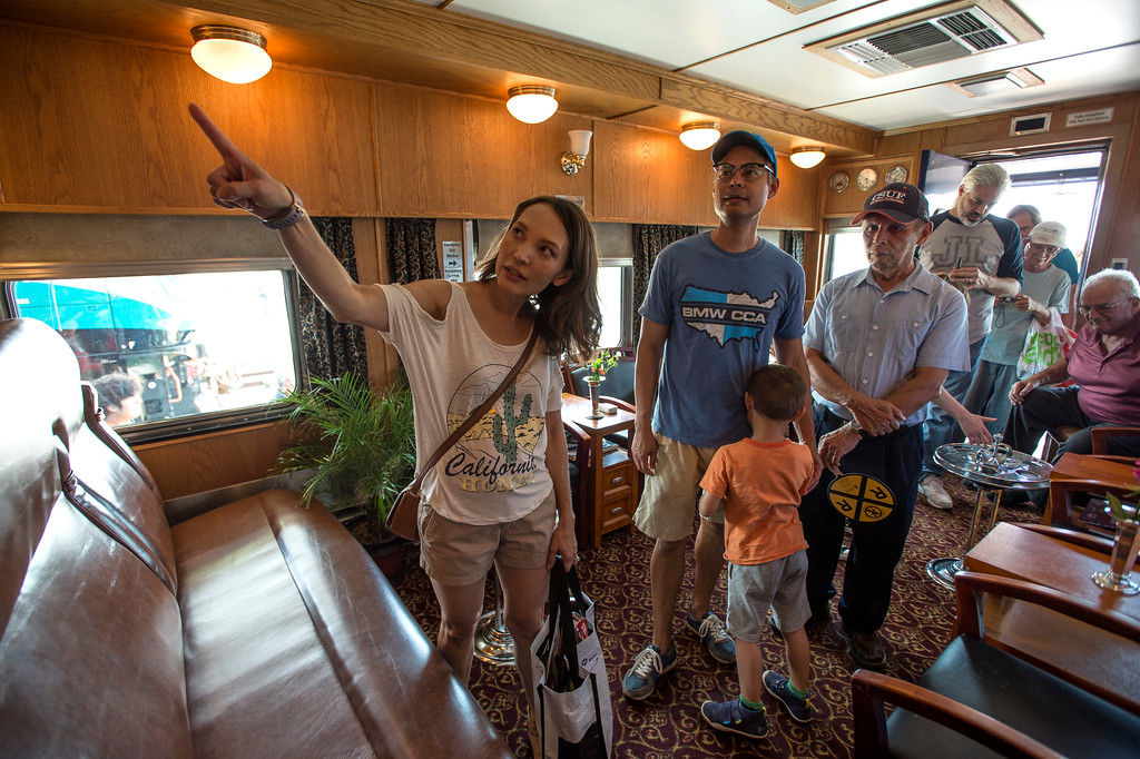 . Karina Leoning, left, of Los Angeles, and her family, husband Robert, son Eric, 4, and her father Horacio Sequeira, tour the Tioga Pass, 1959 Business Car w/ lounge, sleeping quarters, dining room and kitchen during the Union Station Summer Train Fest at the Union Station in Los Angeles on Saturday, July 15, 2017. (Photo by Ed Crisostomo, Los Angeles Daily News/SCNG)