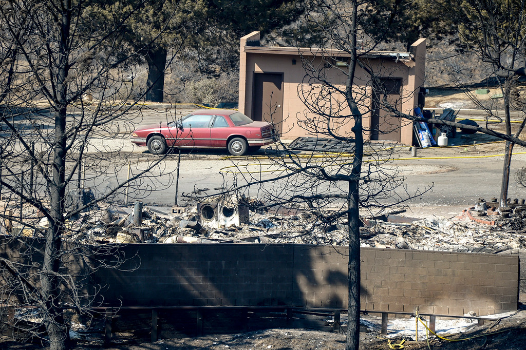 . Ranger\'s residences destroyed at the Bear Divide Ranger Station in the Angeles National forest from the Sand fire which has burned more than 22,000 acres so far with 10% containment.  (Photo by David Crane Southern California News Group)