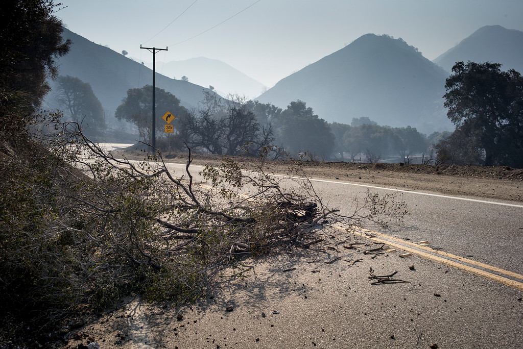 . Debris and smoke filled mountains along Sand Canyon road in the Angeles National forest from the Sand fire which has burned more than 22,000 acres so far with 10% containment.  (Photo by David Crane Southern California News Group)