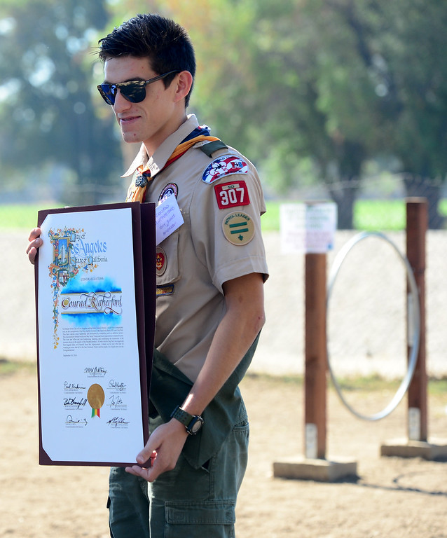 . Eagle Scout Conrad Rutherford raised funds to design and build three canine agility courses this summer at the Sepulveda Basin Off-Leash Dog Park. On Saturday, September 10, 2016, city and parks officials dedicated the courses that have delighted dog owners and put the pooches through the hoops.  (Photo by Dean Musgrove, Los Angeles Daily News/SCNG)