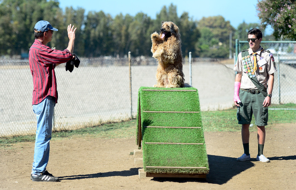 . Kent Moorman directs his dog, Buster Cornbread, as Conrad Rutherford looks on.  Eagle Scout Conrad Rutherford raised funds to design and build three canine agility courses this summer at the Sepulveda Basin Off-Leash Dog Park. On Saturday, September 10, 2016, city and parks officials dedicated the courses that have delighted dog owners and put the pooches through the hoops.  (Photo by Dean Musgrove, Los Angeles Daily News/SCNG)