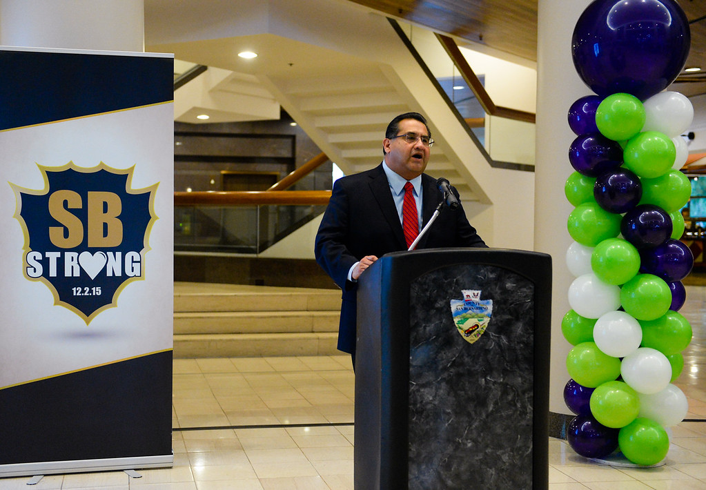 . San Bernardino Board of Supervisors Chairman James Ramos speaks during the fundraising campaign press conference for the annual Give Big webathon fundraiser at the San Bernardino County Government Center in San Bernardino, Calif. on Monday, Oct. 24, 2016. Local nonprofits and government officials gathered to speak about the Give Big webathon, which will take place on Nov. 29. (Photo by Rachel Luna/The Sun, SCNG)