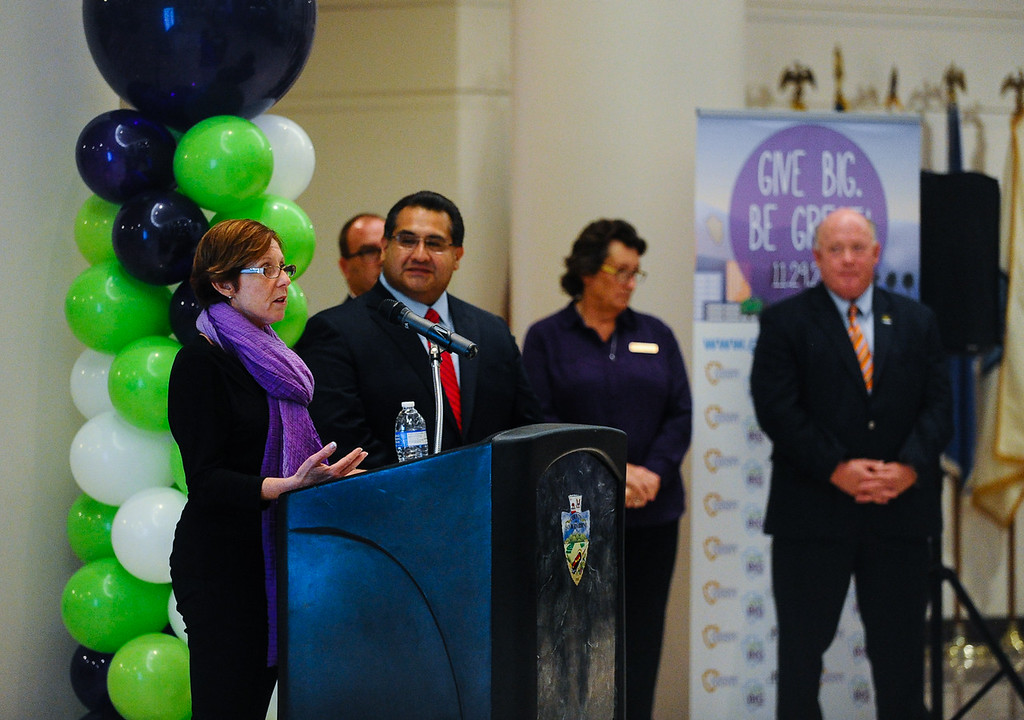 . Local nonprofits and government officials gather to speak during the fundraising campaign press conference for the annual Give Big webathon fundraiser at the San Bernardino County Government Center in San Bernardino, Calif. on Monday, Oct. 24, 2016. The Give Big webathon will take place on Nov. 29. (Photo by Rachel Luna/The Sun, SCNG)