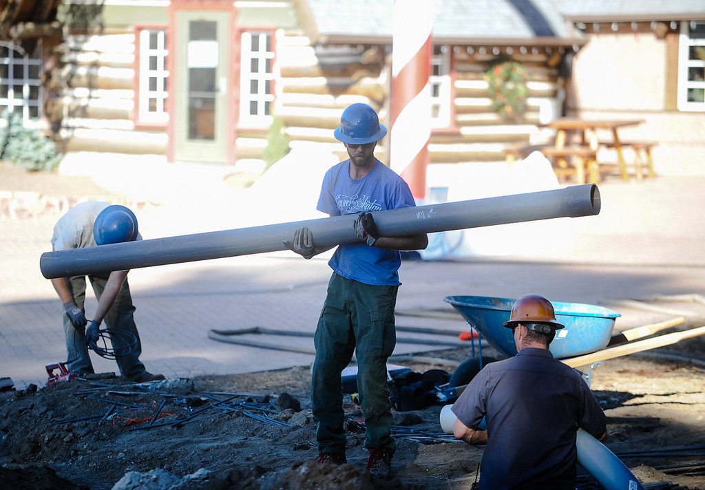. Workers continue construction at the new Sky Park at Santa\'s Village in the Lake Arrowhead community of Skyforest, Calif. on Wednesday, Oct. 19, 2016. The amusement park is hoping to be granted the county permit to open and operate the Santa\'s Village portion of the park by Nov. 1. (Photo by Rachel Luna/The Sun, SCNG)